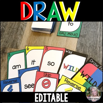 DRAW (a sight word game similar to UNO) Editable Version