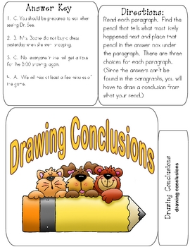 DRAWING CONCLUSIONS File Folder Reading Game