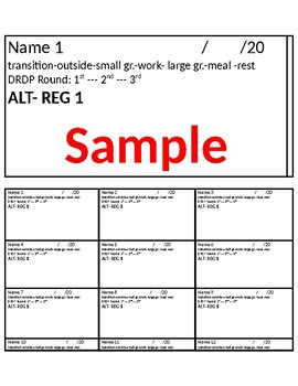 DRDP Note sheet-  43 measures - 17 names per label sheet