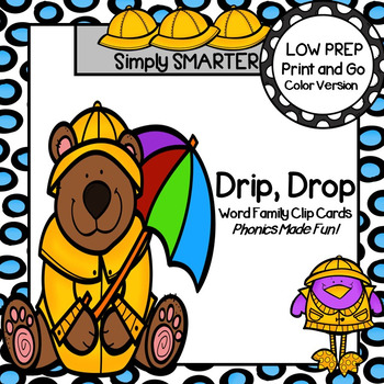 DRIP, DROP:  LOW PREP April Showers Themed Word Family Clip Cards