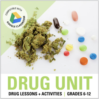 DRUG UNIT BUNDLE: All Drug Lessons and Activities, Projects, Resources & Quiz