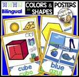DUAL/BILINGUAL COLORS AND SHAPES POSTERS green blue