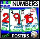 DUAL/BILINGUAL NUMBER CARD SET 0-20 green & blue