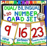 DUAL/BILINGUAL NUMBER CARD SET 1-30 green & blue