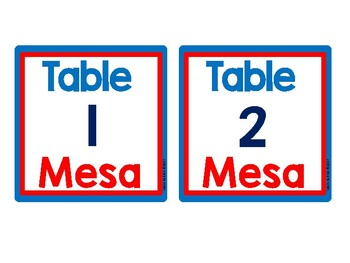 DUAL/BILINGUAL Table Numbers