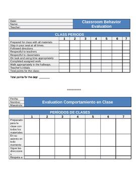 DUAL LANGUAGE Classroom Behavior Chart | Gráfico Comportamiento en Clase