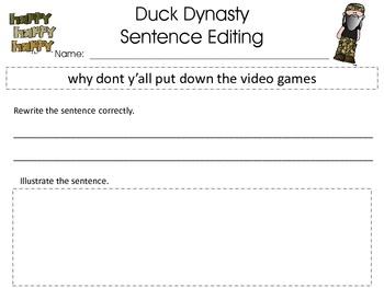 DUCK DYNASTY Sentence Editing
