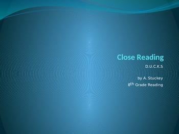 D.U.C.K.S. CLOSE READING STRATEGY