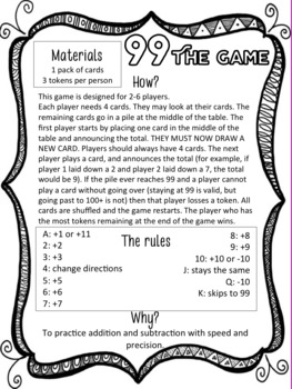 DUFFS Middle School Math - 8 Math Card Games for Middle School
