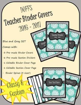 DUFFS Teacher Binder Covers (Blue & Gray Basic)