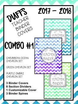DUFFS Teacher Binder Covers (Caribbean-Green-PurpleOmbre COMBO #1)