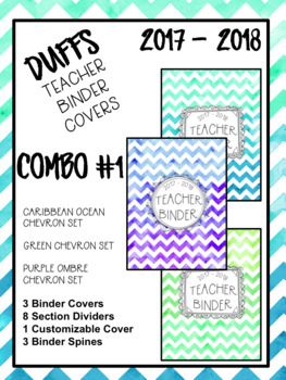 DUFFS Teacher Binder Covers (Caribbean-Green-PurpleOmbre COMBO #1)