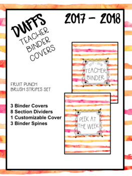 DUFFS Teacher Binder Covers (Fruit Punch Brush Stripes Premium)
