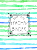 DUFFS Teacher Binder Covers (Green Ombre Brush Stripes Premium)