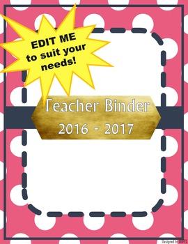 DUFFS Teacher Binder Covers (Pink Polka & Navy Basic)