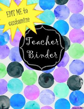 DUFFS Teacher Binder Covers (Watercolor Polka BLUES Binder Premium)