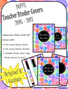 DUFFS Teacher Binder Covers (Watercolor Polka Multi Binder Premium)