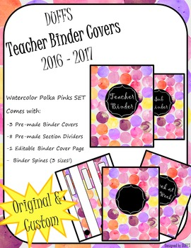 DUFFS Teacher Binder Covers (Watercolor Polka PINKS Binder Premium)