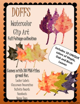 DUFFS Watercolor Clip Art - Fall Foliage Collection