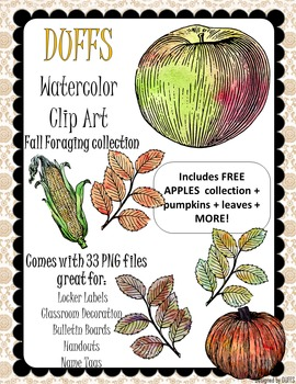 DUFFS Watercolor Clip Art - Fall Foraging Collection