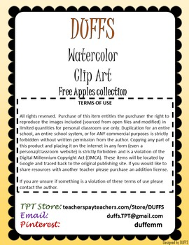 DUFFS Watercolor Clip Art - Free Apple Collection
