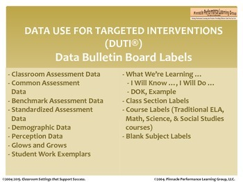 DUTI Data Talk Labels for MS and HS Classrooms