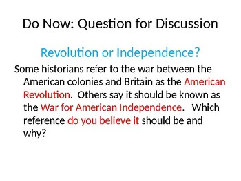 DVD Discussion Questions PP  - America: The Story of Us- Revolution