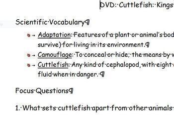 DVD Kings of Camouflage Think Sheet: Natural Selection