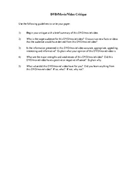 DVD, Movie or Video Critique and Review Forms