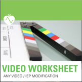 Video or Article Modification Worksheet: Students with IEPs. Simple assessment!