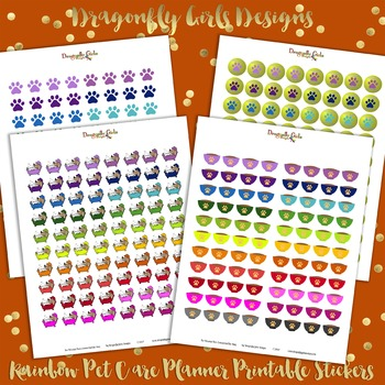 DYI Rainbow Pet Care Printable Planner Stickers