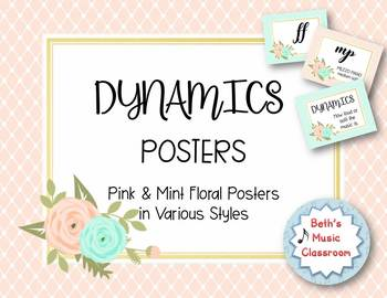 DYNAMICS Posters - Floral Pink/Mint Watercolor Shabby Chic Decor