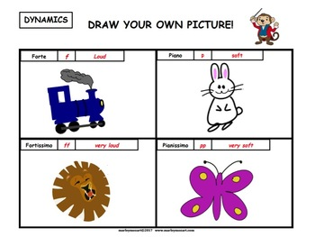 DYNAMICS WORKSHEET- DRAW YOUR OWN PICTURE!!! Great for Music Substitutes!