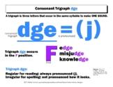 DYSLEXIA RESOURCES: Consonant Trigraph dge, Mini Poster, WORD