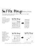 DYSLEXIA RESOURCES: Kits 1-5 SUFFIX BINGO, Word Print Version