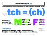 DYSLEXIA RESOURCES: Consonant Trigraph tch, Mini Poster, Word