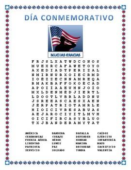 Día Commemorativo- Memorial Day- Word Search and Cross Wor