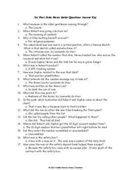Da Vinci Code Movie Guide Questions