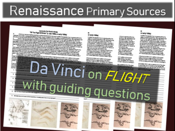 Da Vinci Primary Source Text (from his notebook) on FLIGHT