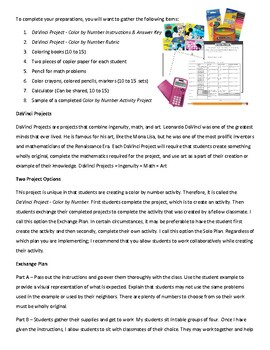 Da Vinci Project – Color by Number with Systems of Equations for High School