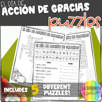 Día de Acción de Gracias Vocab Puzzles (Thanksgiving Wordsearch and Crossword)