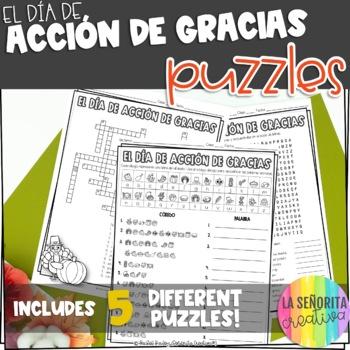 Día de Acción de Gracias Vocab Puzzles (Thanksgiving Wordsearch and Crossword)