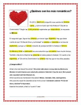 Día de San Valentin Spanish Lesson Materials