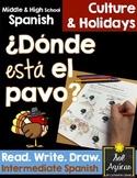 Spanish Thanksgiving ¿Donde está el pavo? - Read and Draw - Intermediate