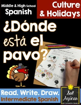 Spanish Thanksgiving ¿Donde está el pavo? - Read and Draw - Intermediate