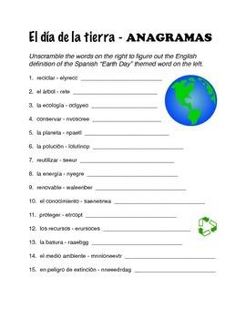 Día de la tierra - Spanish Earth Day Anagrams
