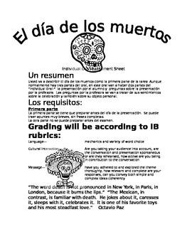 Día de los muertos Individual Oral Assignment Sheet