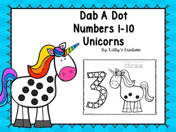 Dab A Dot Numbers 1-10 Unicorns