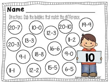 Dab-A-Dot Subtraction Pages (Bingo Daubers)