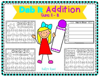 Dab It Addition Activity   Sums 11-18
